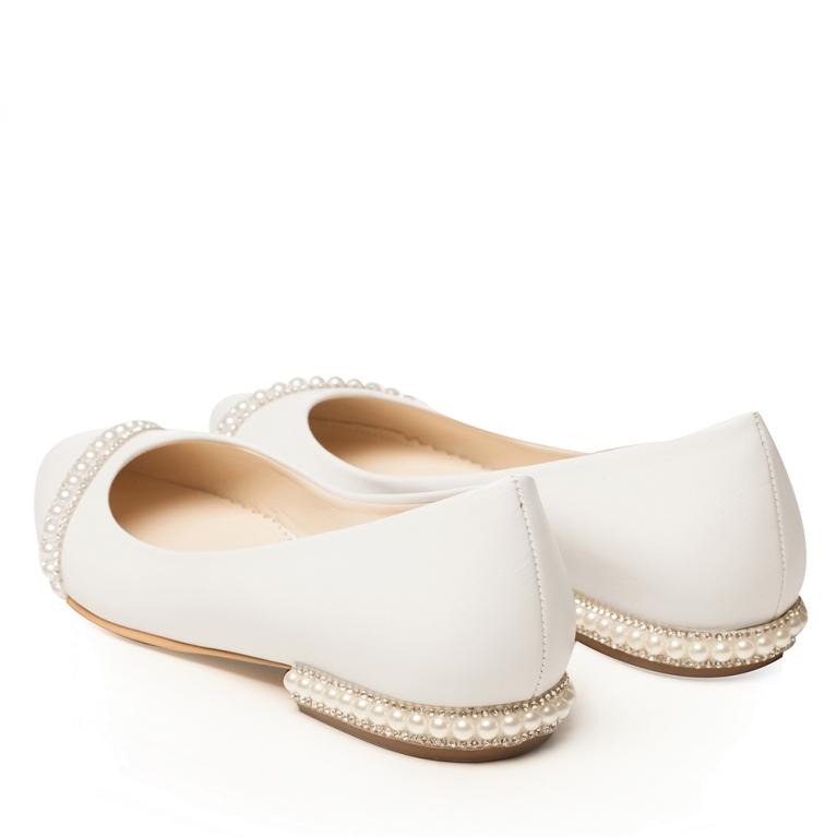 Balerini mireasa albi cu accesoriu perle Classy