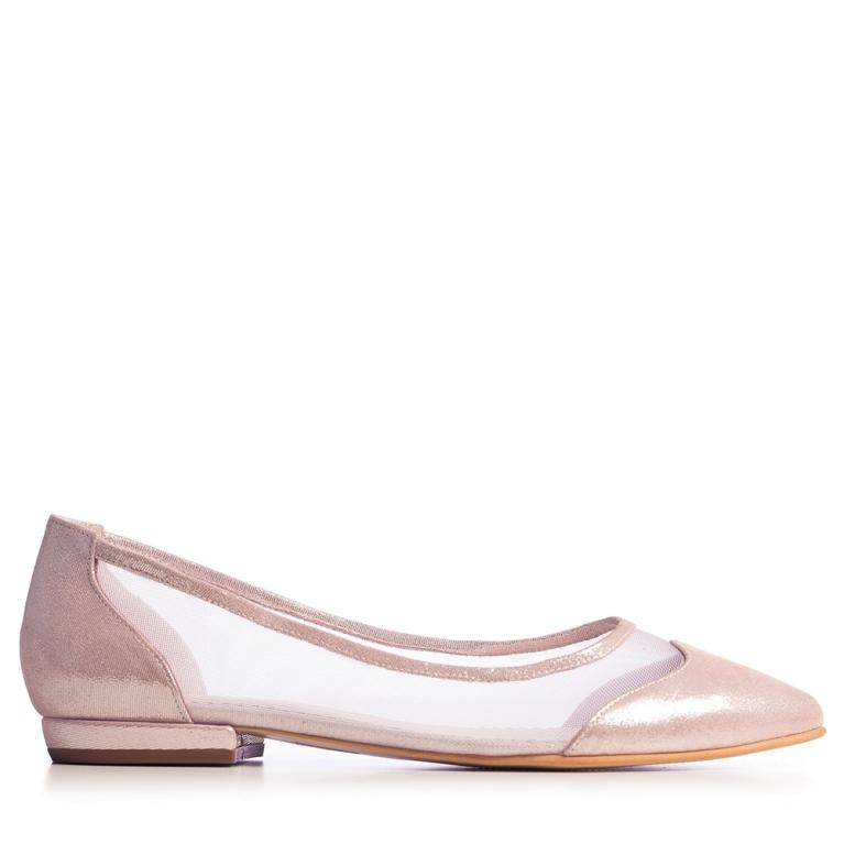 Balerini mireasa roz gold cu plasa April