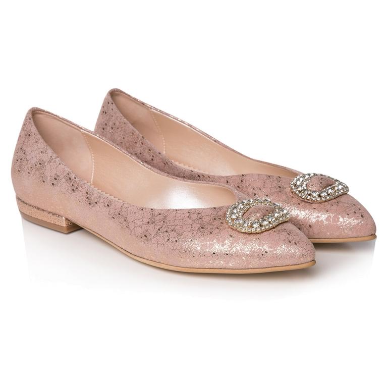 Balerini mireasa roz textura dantela Bijou