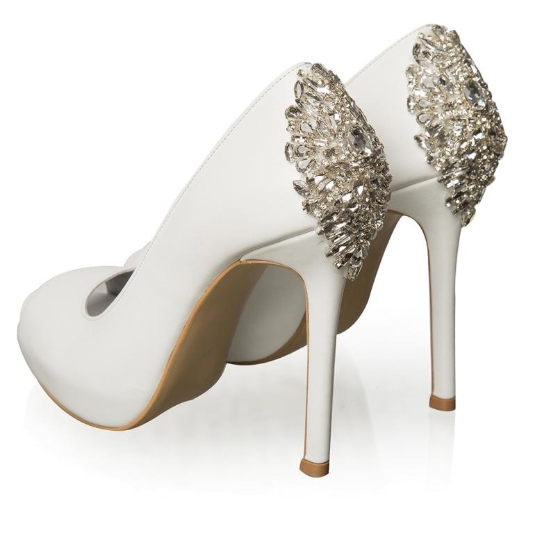Pantofi de mireasa cu platforma albi cu cristale Estelle