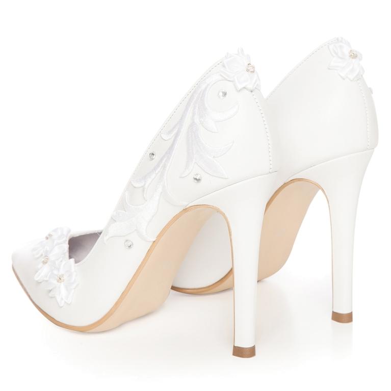 Pantofi mireasa albi Classy Flower