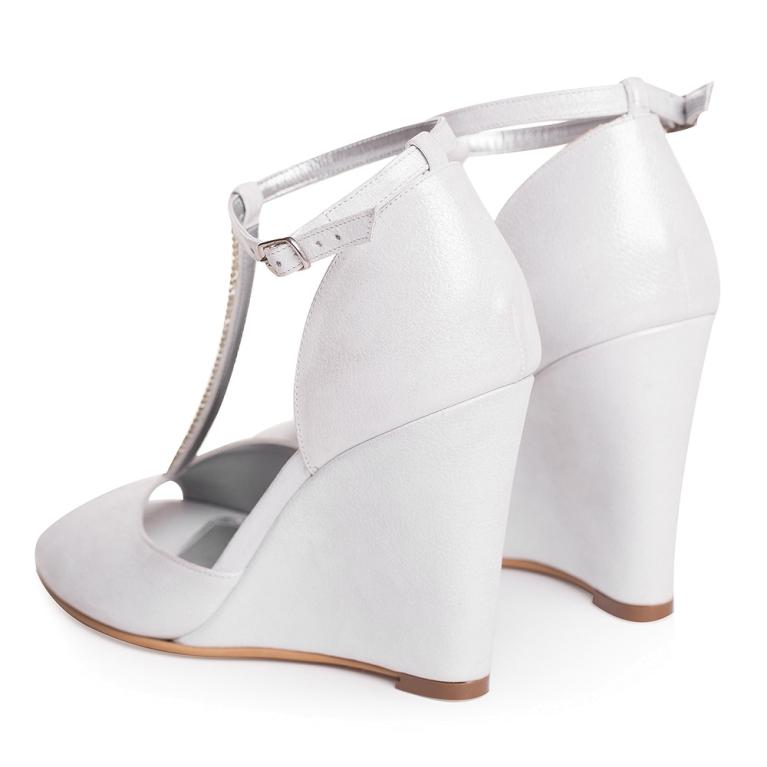 Sandale de mireasa albi sidef cu talpa ortopedica Bernadette