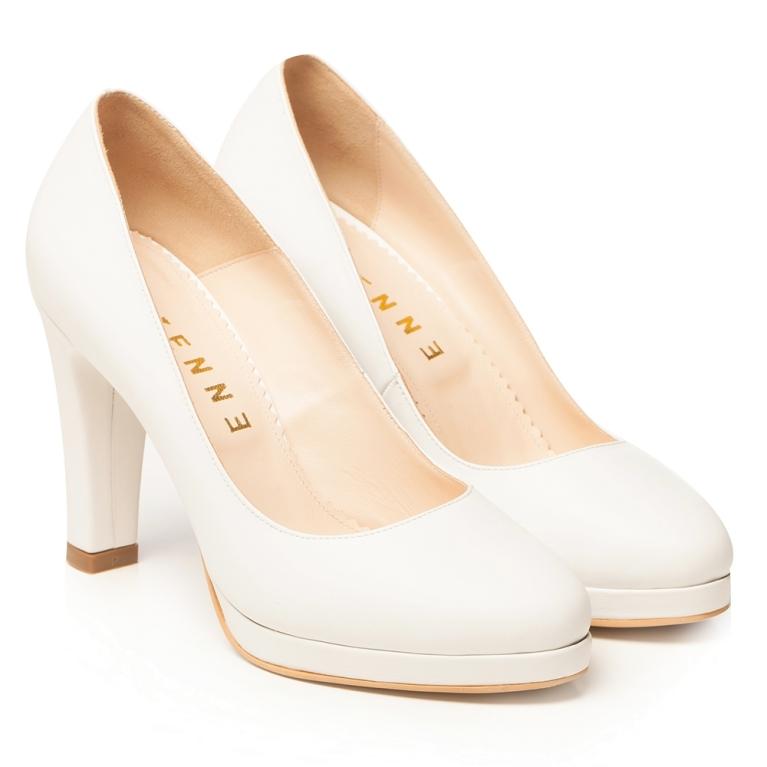 Pantofi de mireasa albi cu platforma si toc gros Elsa