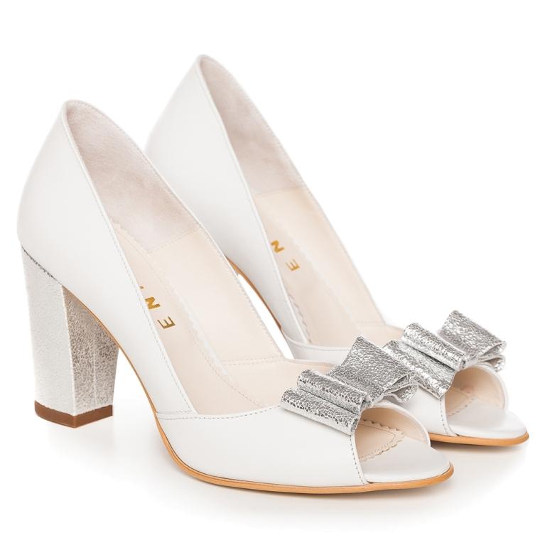 Pantofi mireasa albi toc gros si funda argintie Peep Toe