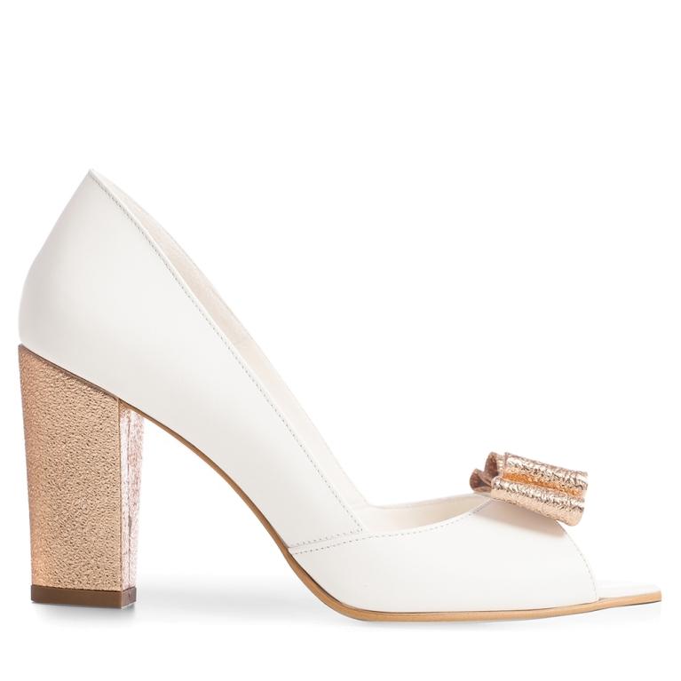Pantofi mireasa albi toc gros si funda Peep Toe