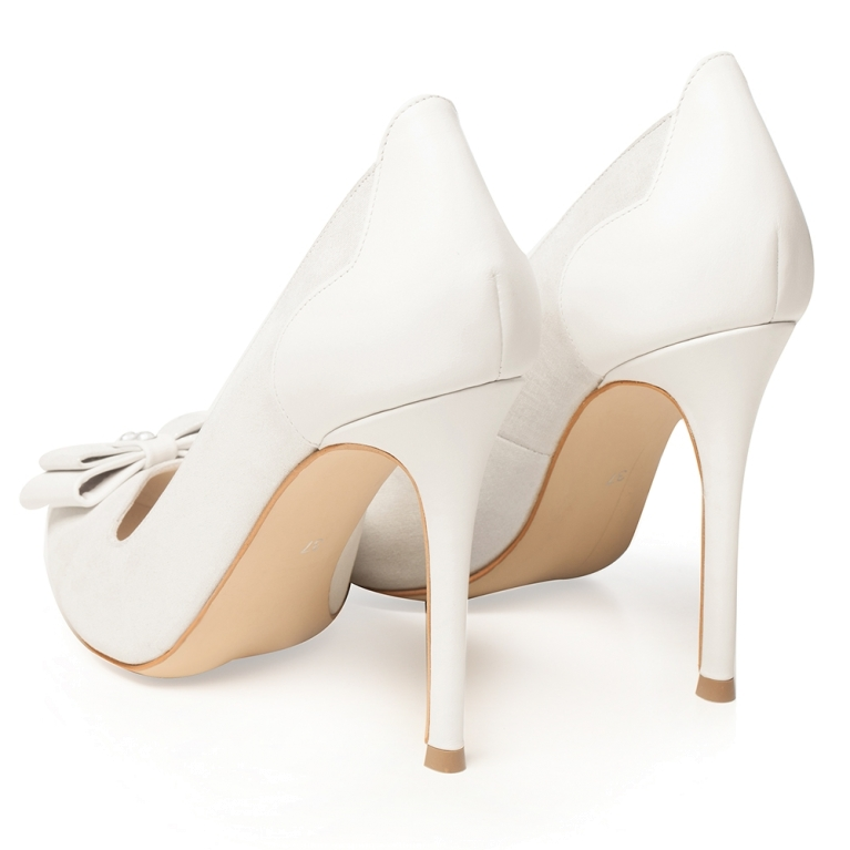 Pantofi mireasa alb sidef cu fundita Brianna
