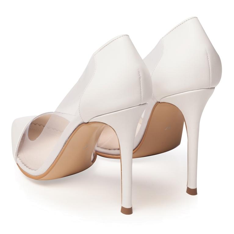 Pantofi de mireasa albi cu material transparent Plexi