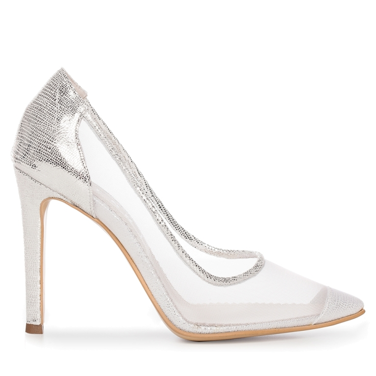 Pantofi mireasa argintii cu plasa Bella