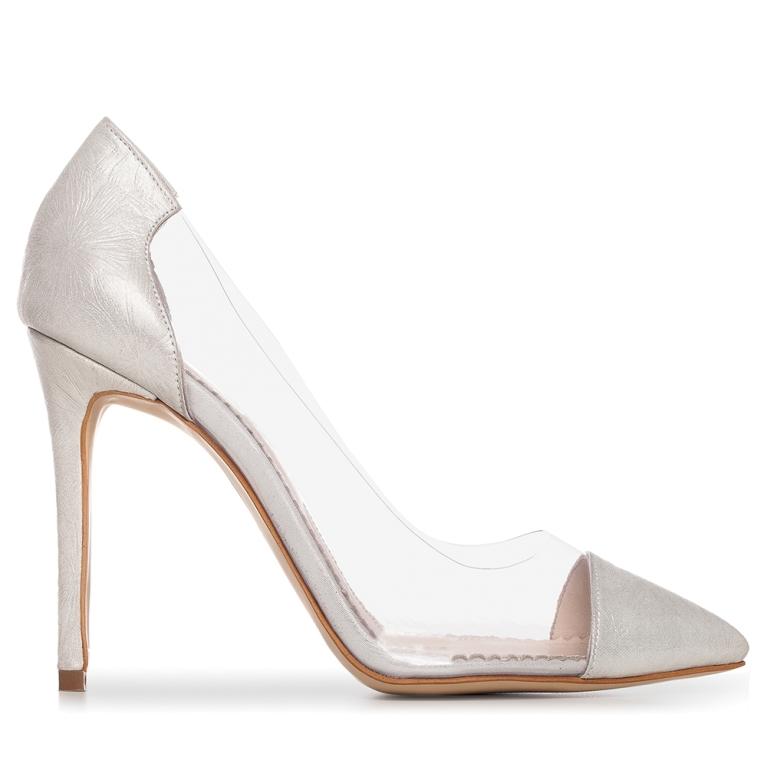 Pantofi de mireasa argintii flower print Plexi