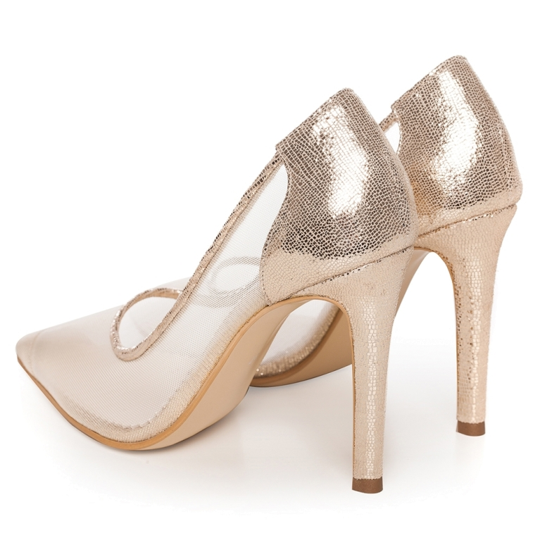 Pantofi mireasa aurii cu plasa Bella