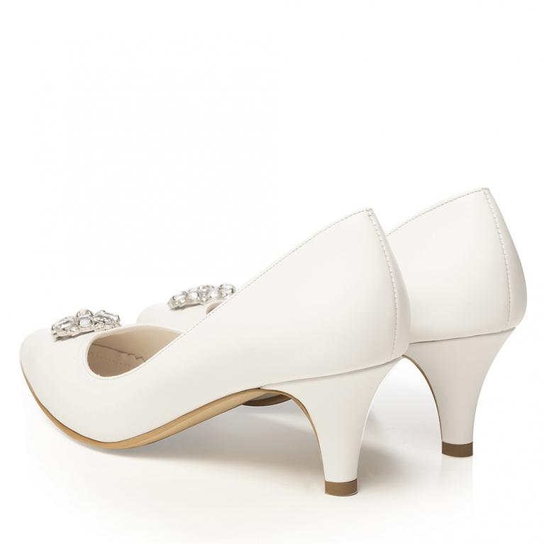 Pantofi de mireasa albi cu toc mic si accesoriu pietre cristal Celeste