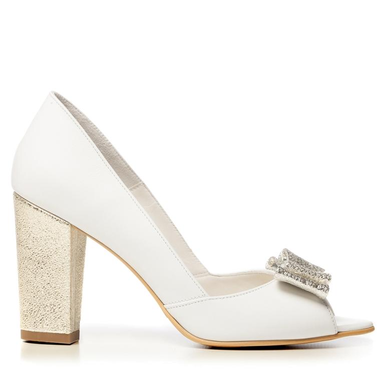 Pantofi mireasa albi toc gros si funda aurie Peep Toe