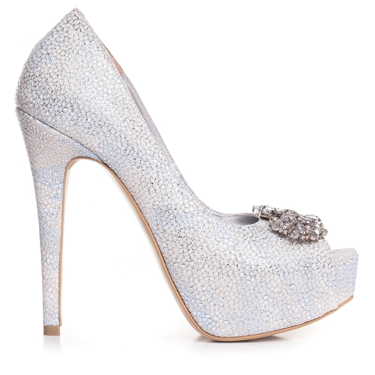 Pantofi de mireasa cu platforma snake print alb accesorizati cu cristale Brigitte