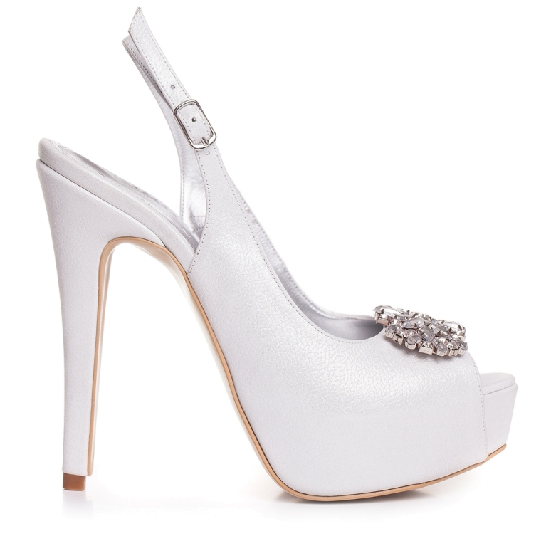 Sandale de mireasa cu platforma alb sidef accesorizati cu cristale Camile