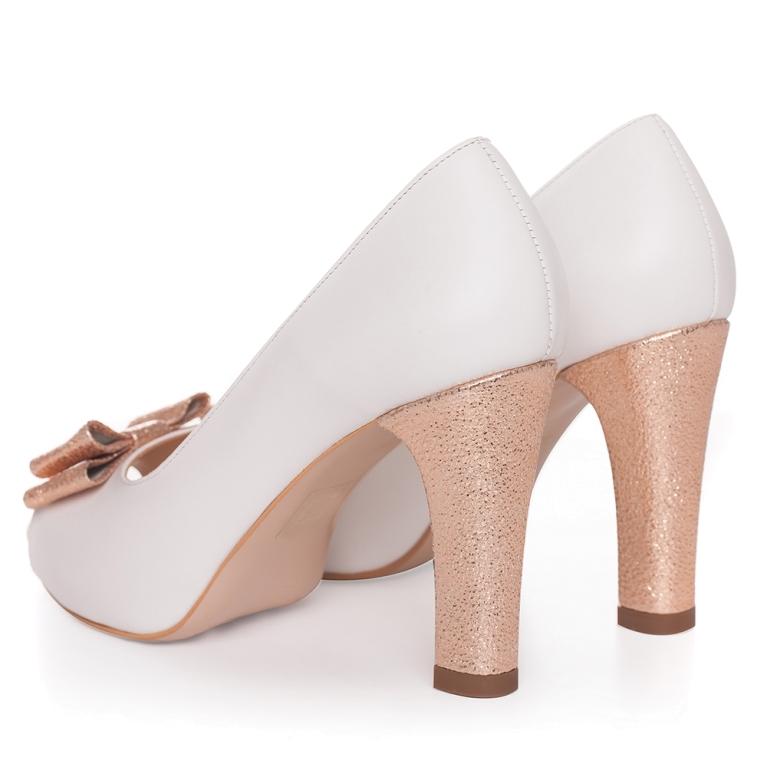 Pantofi de mireasa albi cu platforma si fundita rose gold Claire
