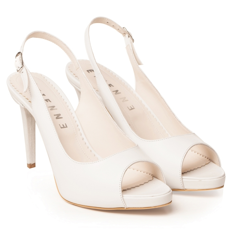 Pantofi de mireasa decupati albi cu platforma Claire