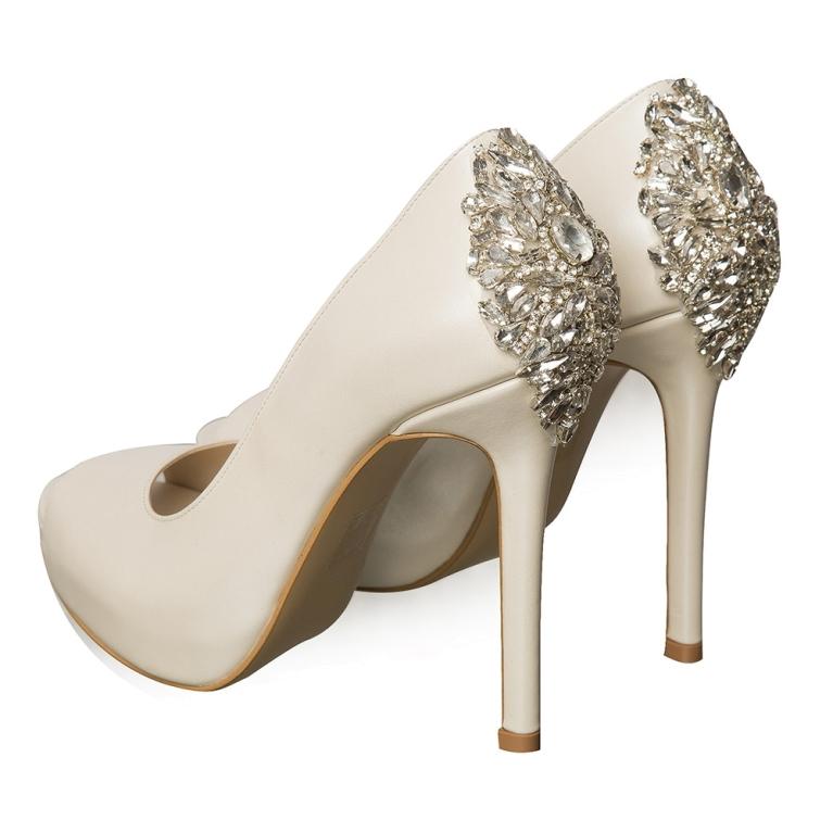 Pantofi de mireasa cu platforma ivory cu cristale Estelle