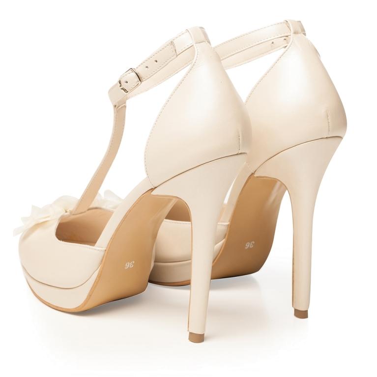 Pantofi de mireasa cu platforma ivory perlat Sophia