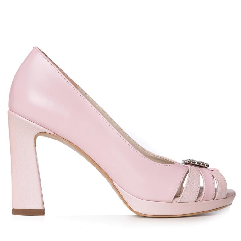 Pantofi mireasa roz pudra Agnès