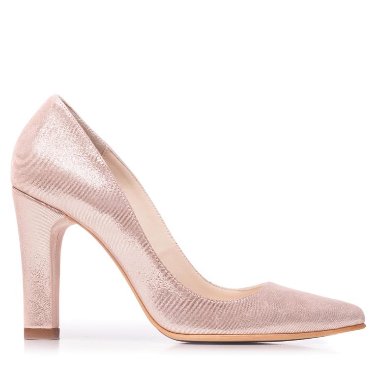 Pantofi stiletto roz sidef cu toc gros Clara