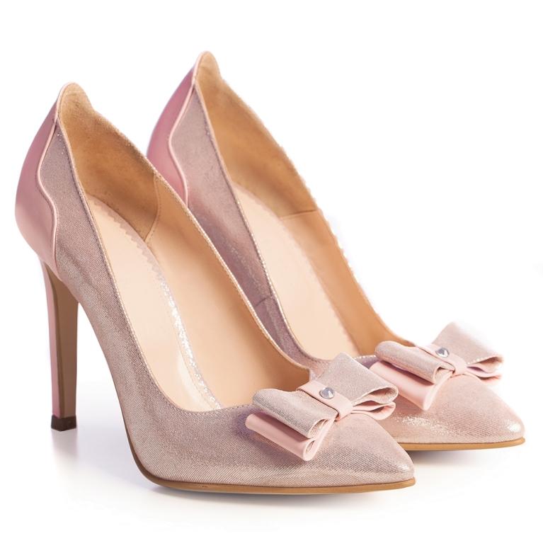 Pantofi mireasa roz pudra cu funda Brianna