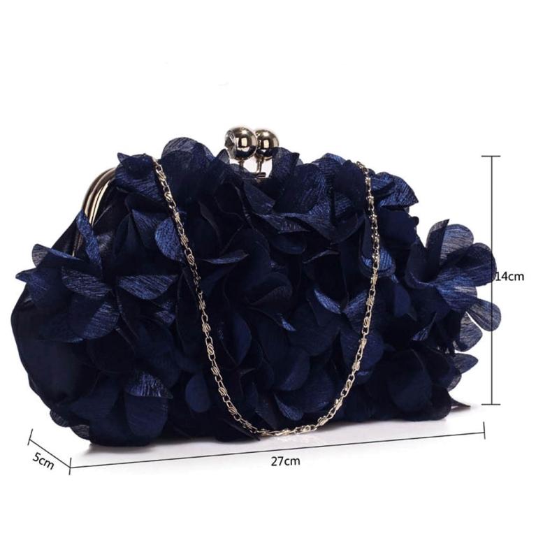 Plic de ocazie cu flori saten Blue Navy Kiss