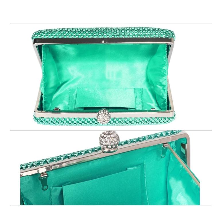 Plic de ocazie verde smarald cu pietre Crystal