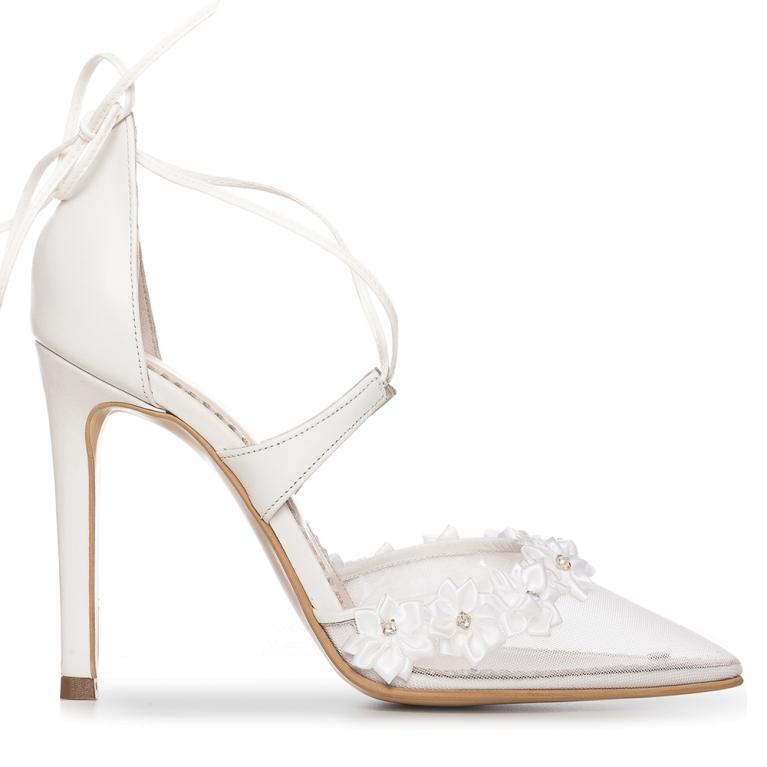 Sandale de mireasa albe cu plasa Flower Charllote