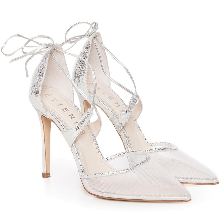Sandale cu plasa argintii Silver Charllote