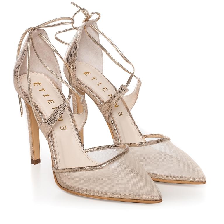Sandale cu plasa aurii Gold Charllote