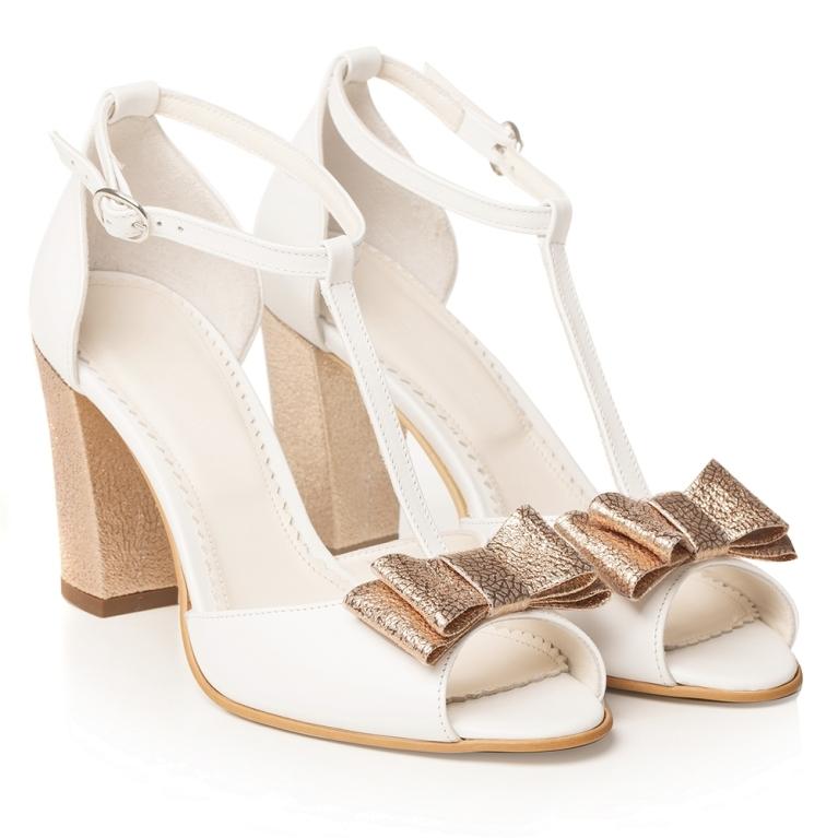 Sandale mireasa albe cu toc gros si funda rose gold Peep Toe