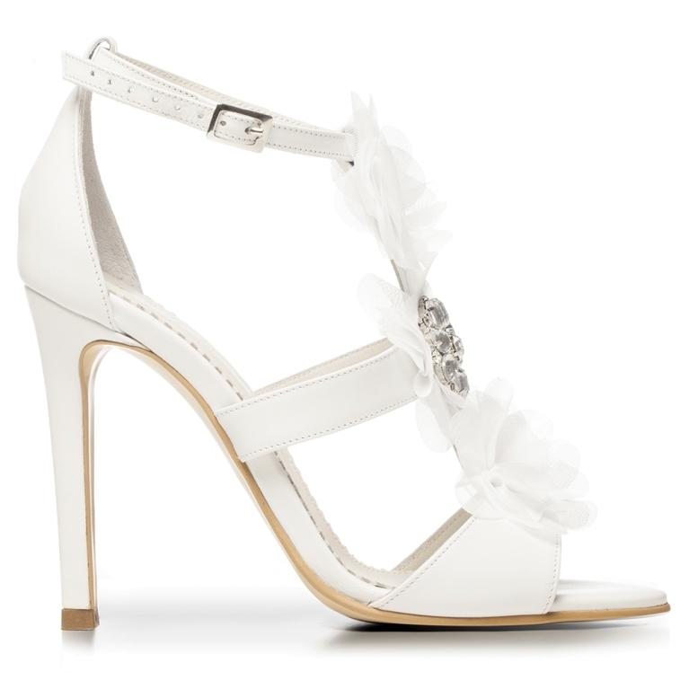Sandale de mireasa albe cu accesoriu pietre cristal Bianca