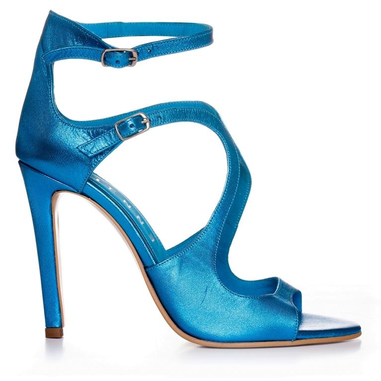 Sandale de ocazie albastru irizat ÉVELYNE 100MM