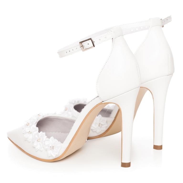 Sandale mireasa albe cu bareta pe glezna Chloe Flower
