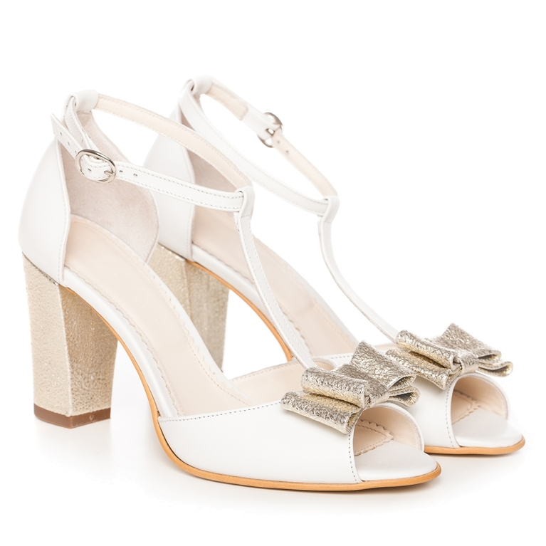 Sandale mireasa albe cu toc gros si funda aurie Peep Toe