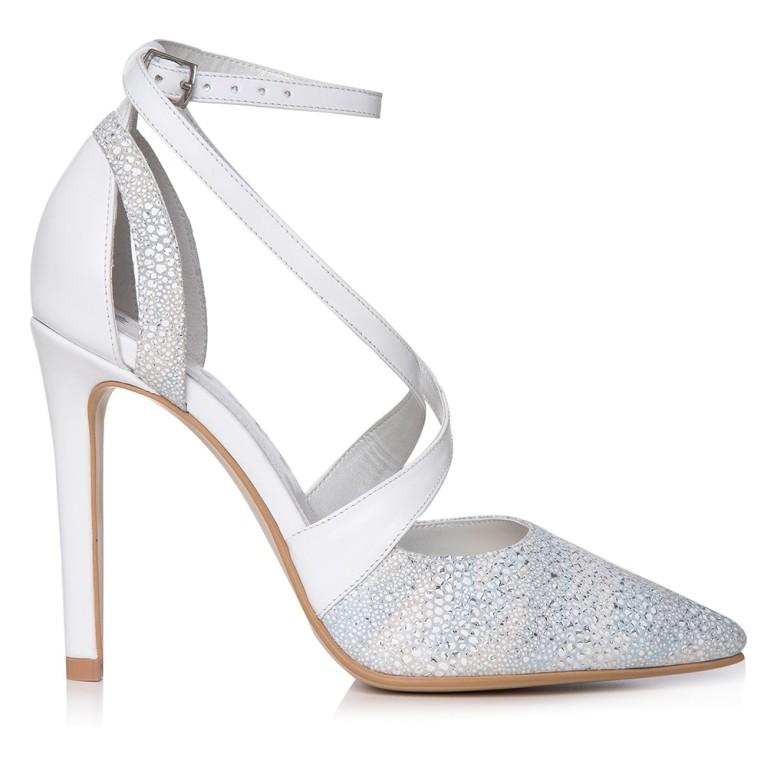 Pantofi mireasa albi Inés