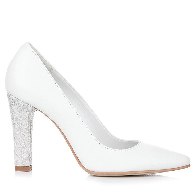 Pantofi mireasa albi cu toc gros snake Clara