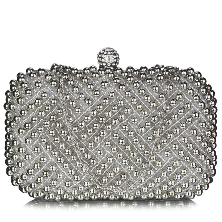 Plic de mireasa argintiu cu perle Evelyn