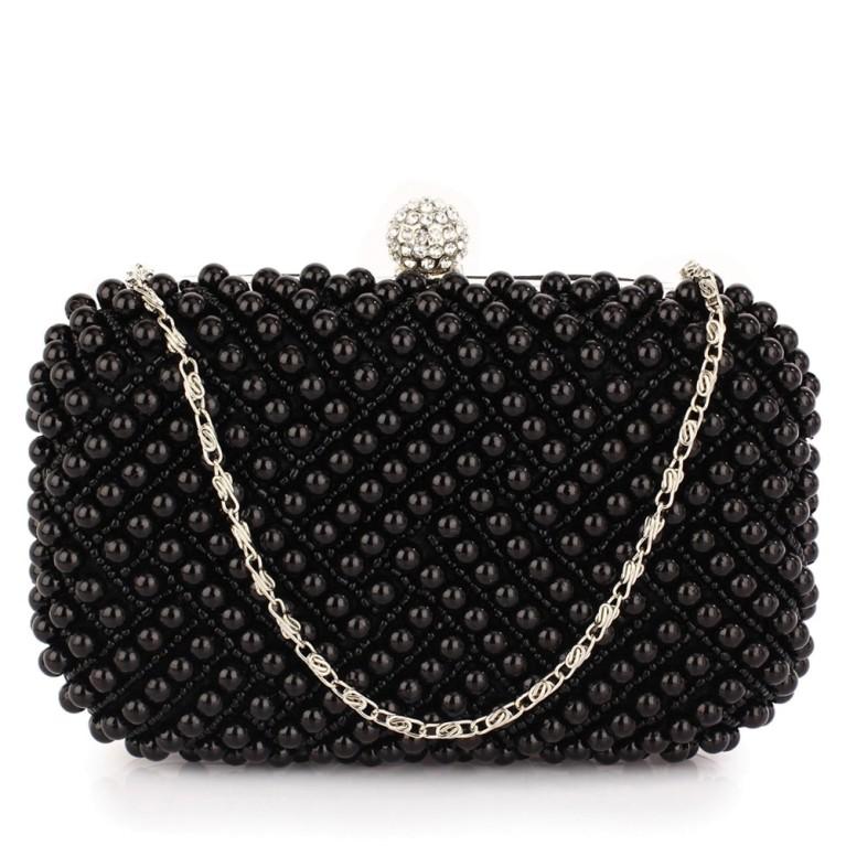 Plic de ocazie negru cu perle Evelyn
